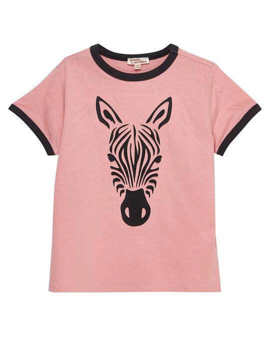 Tee shirt garçon manches courtes rose avec zèbre en volume.  JODUTI5 / 20S902O5TMC318