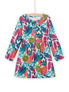 Robe rose en twill imprimé fleuri enfant fille MATUROB2 / 21W901K4ROBH705