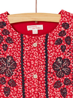Robe manches courtes imprimé léopard et broderie fleurie KABRIROB4 / 20W901F1ROB408