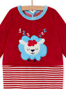 Grenouillère rouge en velours motif mouton bébé garçon MEGAGREMOU / 21WH1493GREF526