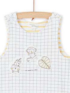 Salopette blanche rembourrée à carreaux motifs fantaisie LOU1SAL1 / 21SF04H1SAL000