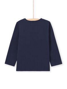 T-shirt manches longues bleu nuit motif Amsterdam enfant garçon MOJOTEE4 / 21W90223TML705