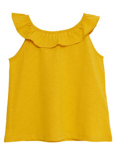 Débardeur jaune  à encolure volantée  et imprimé pois JAJODEB4 / 20S901T4D27B104