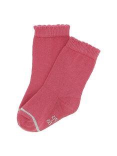 Chaussettes mi-hautes rose bébé fille DYIJOCHO11 / 18WI09J7SOQ302
