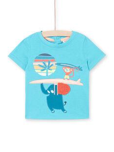 Tee Shirt Manches Courtes Turquoise LUBONTI1 / 21SG10W3TMC202