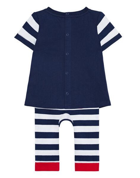 Pyjama bébé garçon blanc et marine JEGAPYJDOG / 20SH14U1PYJ702