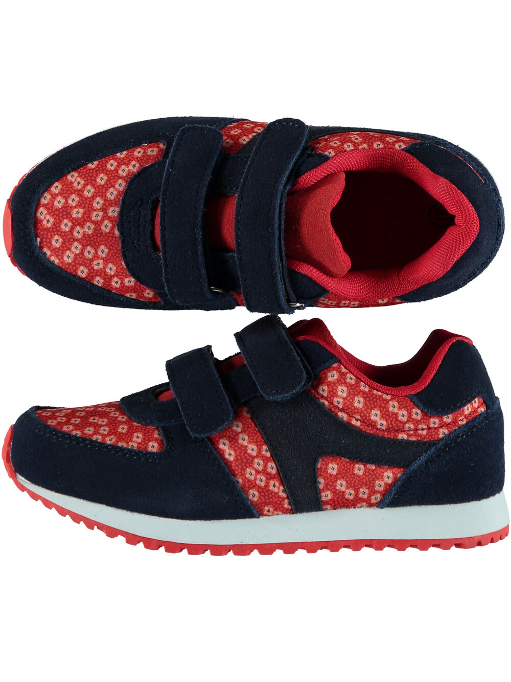 Basket bi matière textile et cuir marine et rouge enfant fille
