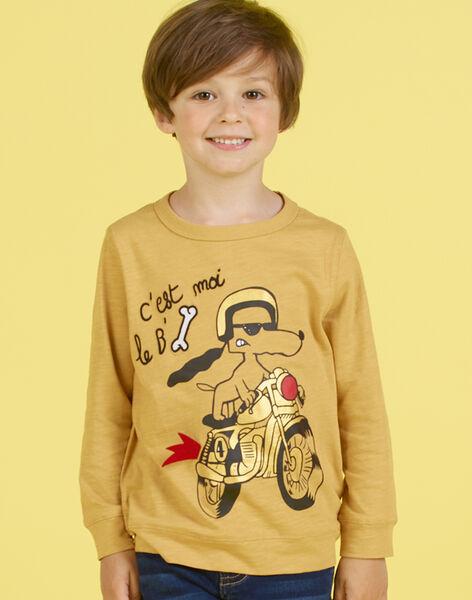 T-shirt jaune moutarde animation chien et moto enfant garçon MOMIXTEE3 / 21W902J5TMLB101