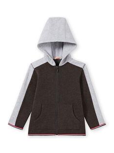 Haut de jogging à capuche anthracite et gris chiné enfant garçon MOJOJOH2 / 21W90213JGH944