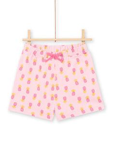 Pyjama écru et rose enfant fille LEFAPYJPIN / 21SH11C9PYJ001