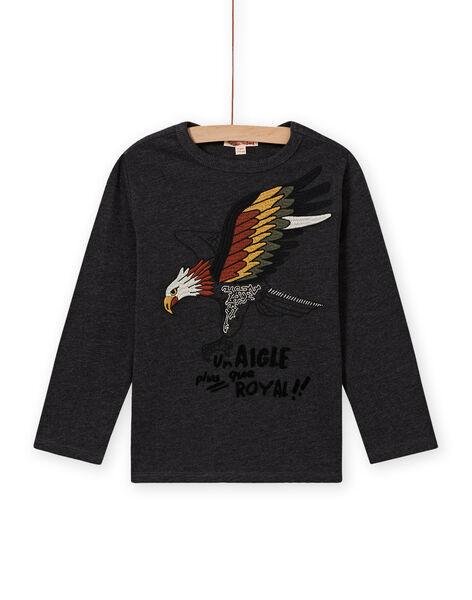 T-shirt manches longues gris chiné à motif aigle enfant garçon MOSAUTEE2 / 21W902P4TML944