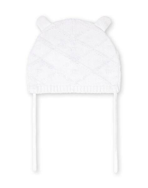 Bonnet blanc en maille motif léopard LOU1BON3 / 21SF42H2BON000