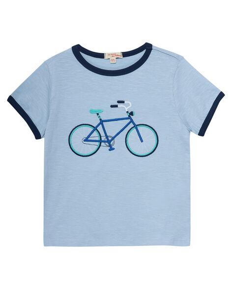 Tee shirt bleu clair garçon broderie vélo JOPOETIEX / 20S902G2TMC213