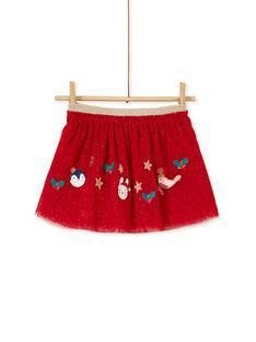 Jupe rouge avec paillettes et broderies bébé fille KINOJUP / 20WG09Q1JUPF529