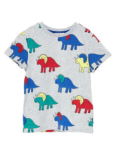Tee shirt manches courtes garçon gris chiné clair imprimé dinosaures JOGRATI1 / 20S902E3TMCJ920