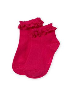 Chaussettes roses avec volant en dentelle enfant fille MYAESCHOD4 / 21WI01E6SOQF507