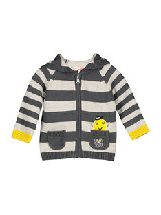 Gilet zippé à capuche rayé bébé garçon FULIGIL / 19SG1021GIL099