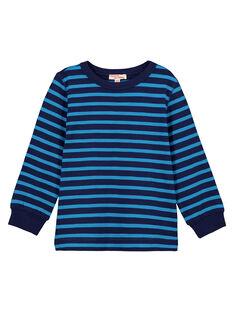 T-shirt Manches longues Marine rayé turquoise GOJOTIRIB3 / 19W90242D32C200