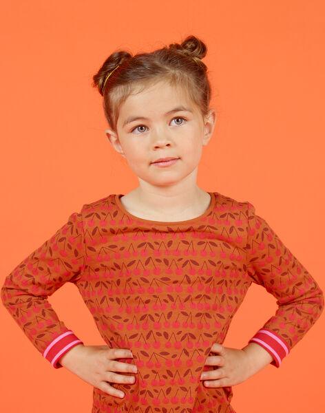 T-shirt manches longues réversible camel et rouge enfant fille MACOMTEE4 / 21W901L4TML420