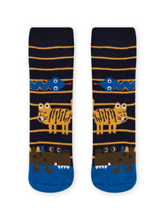 Chaussettes bleu nuit à motifs animaux enfant garçon MYOKACHODER / 21WI02I1SOQ705