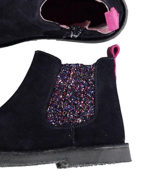 Chelsea boots croûte de cuir marine enfant fille GFBOOTMAR / 19WK35IDD0D070