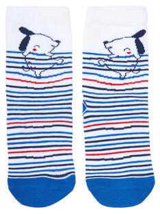 Chaussette bébé garçon blanche rayée bleu JYUGRACHO2 / 20SI10E2SOQ000