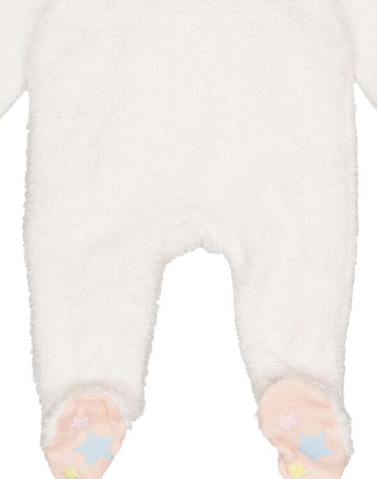 Grenouillère écrue en soft boa lurex layette fille GEFIGRELI / 19WH13N1GRE000