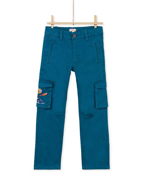Pantalon cargo bleu turquoise enfant garçon KOECOPAN1 / 20W902H1PAN716