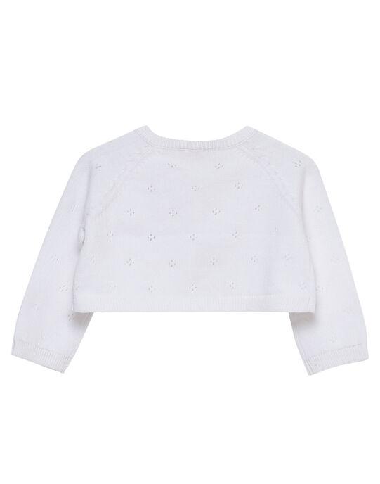 Cardigan blanc en tricot bébé fille JIPOECAR / 20SG09G1CAR000