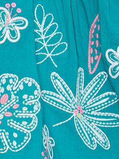 Robe brodée turquoise layette fille JIQUAROB3 / 20SG09R1ROB621