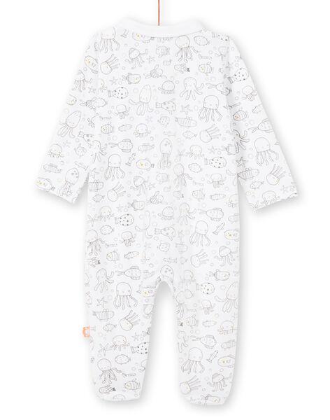 Grenouillère blanche imprimé fantaisie naissance garçon LOU2GRE2 / 21SF04I1GRE000