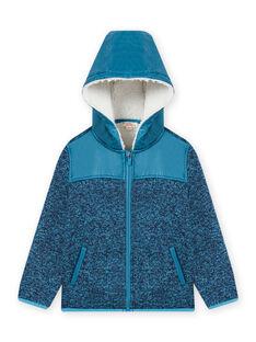 Veste zippée à capuche en matière technique bleu enfant garçon MOJOTEKGIL3 / 21W902N3GILC211