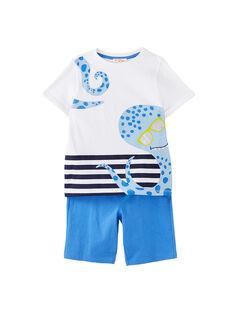 Ensemble de plage garçon tee shirt blanc et bermuda bleu  JOPLAENS3 / 20S902X4ENS000