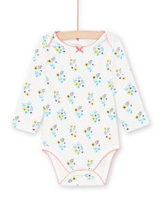 Body écru et turquoise imprimé fleuri bébé fille MEFIBODAOP / 21WH13B4BDL001