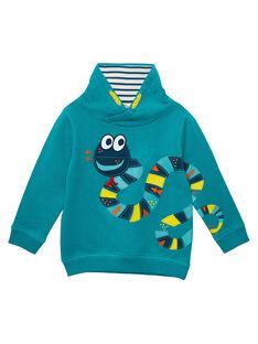 Sweat shirt garçon turquoise col montant JOCLOSWE / 20S90211SWEC217