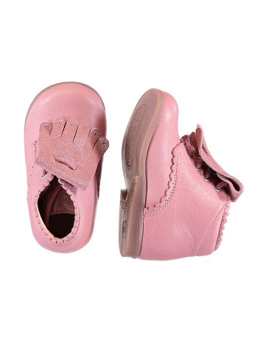 Bottillon cuir rose avec franges amovible bébé fille GBFBOTIPATP / 19WK37I1D0F030