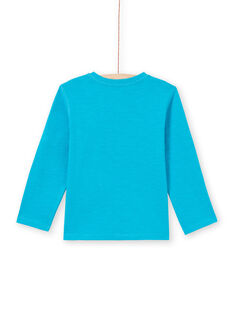 T-shirt turquoise enfant garçon MOJOTUN3 / 21W90211TMLC211