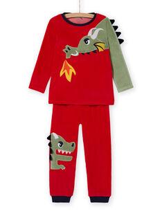 Ensemble pyjama T-shirt et pantalon motif dragon enfant garçon MEGOPYJDRA / 21WH1287PYJF504