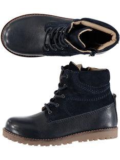 Boots bi-matière cuir marine enfant garçon  GGBOOTCHARL / 19WK36X6D0D070