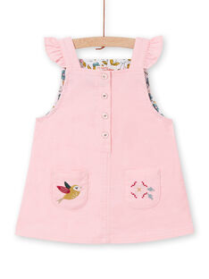 Robe-salopette en velours côtelé rose bébé fille MIKAROB2 / 21WG09I2ROBD316