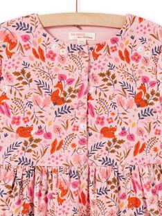 Robe vieux rose imprimé fleuri fantaisie en velours enfant fille MASAUROB1 / 21W901P2ROB303