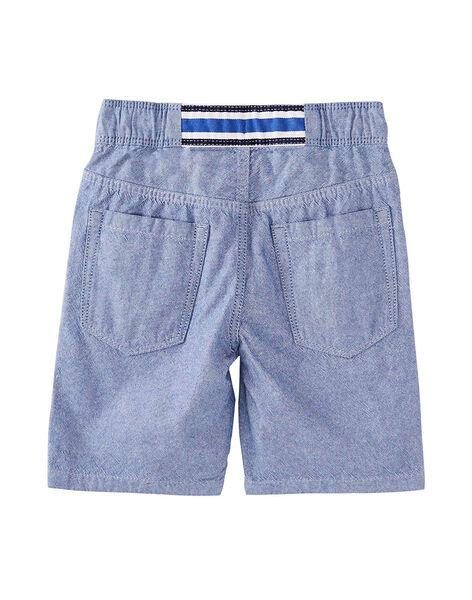 Bermuda garçon matière oxford bicolore bleu et écru.  JOQUABER2 / 20S902R3BERC201