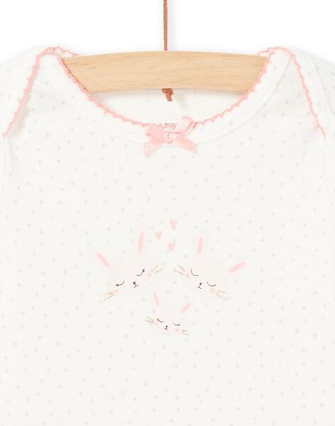 Body blanc manches longues motifs lapins roses bébé fille MEFIBODAMO / 21WH13B8BDL001