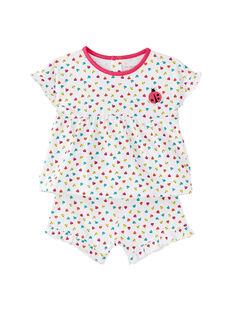 Pyjama court bébé fille blanc imprimé coccinelles JEFIPYJCOE / 20SH13U2PYJ000