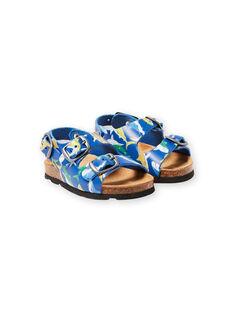 Sandales bleu marine à imprimé requins bébé garçon LBGNUREQUIN / 21KK385CD0E070