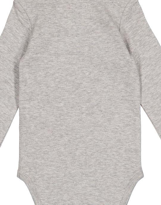 Body manches longues gris chiné en rib layette garçon GEGABODMAU / 19WH14N3BDLJ908