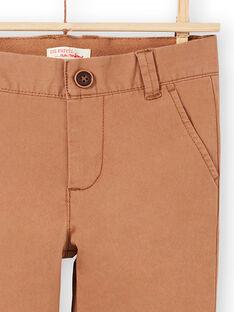 Pantalon uni marron enfant garçon MOESPACHI2 / 21W902E1PANI810