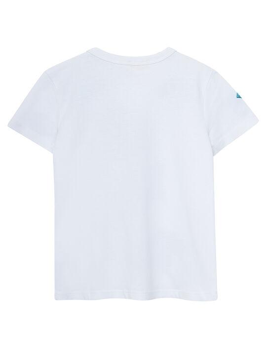 Tee shirt manches courtes blanc imprimé raies.  JOBOTI1 / 20S902H6TMC000