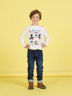T-shirt blanc motifs chiens fantaisie enfant garçon MOMIXTEE2 / 21W902J3TML810