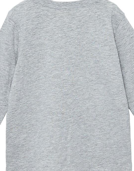 Tee shirt manches longues garçon gris chiné imprimé dinosaures JOJOTEE2 / 20S90243D32943